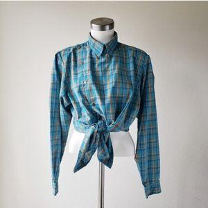Vintage 80's Liz Plaid Button Down Bib Shirt